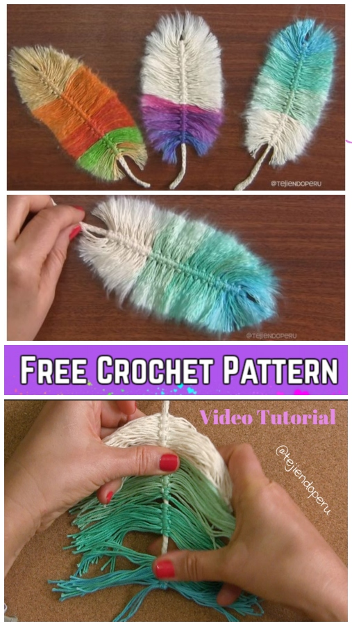 Diy Macrame Feather With Crochet Cord Free Pattern Video Tutorial