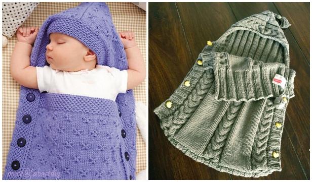 Knit Baby Hooded Sleeping Sack Blanket Free Knitting Pattern Paid