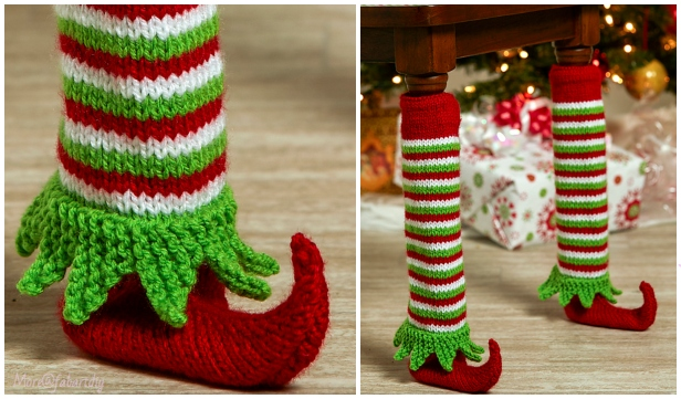 Knit Elf Shoe Table Leg Cover Free Knitting Pattern