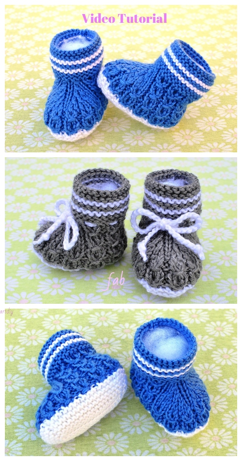 Knit Mock Cables Baby Booties Knitting Pattern Video