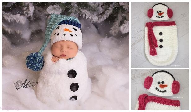 Christmas Crochet Snowman Baby Cocoon Free Crochet Pattern