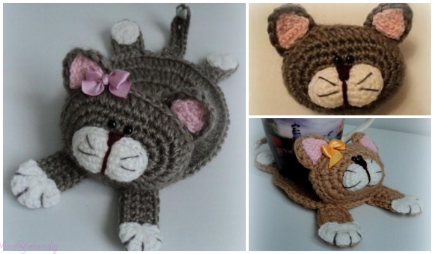 Crochet Cat Cup Coaster Amigurumi Free Crochet Pattern