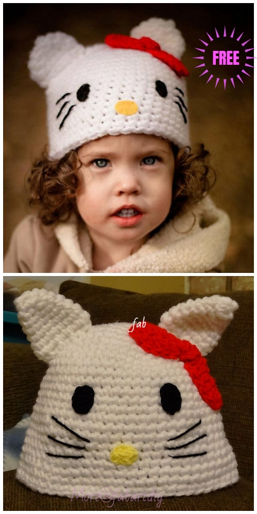 Crochet Hello Kitty Hat Free Crochet Pattern For Kids