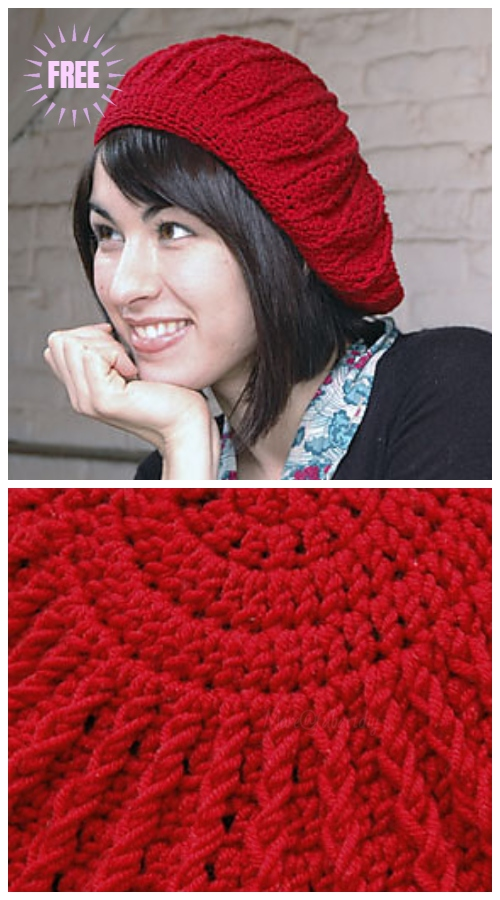 Crochet Sunburst Beret Hat Free Crochet Patterns