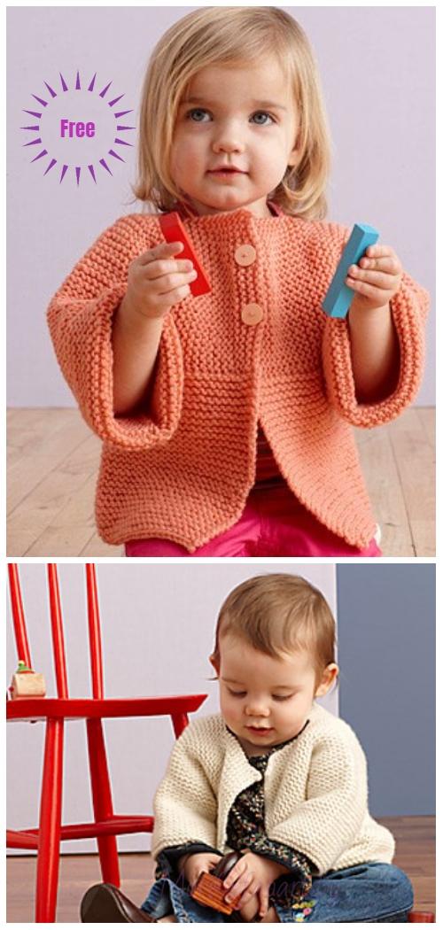 Easy Garter Stitch Sideways Baby Cardigan Free Knitting Patterns