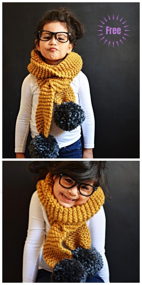 Easy Knit Garter Stitch Pom Pom Scarf Free Knitting Patterns