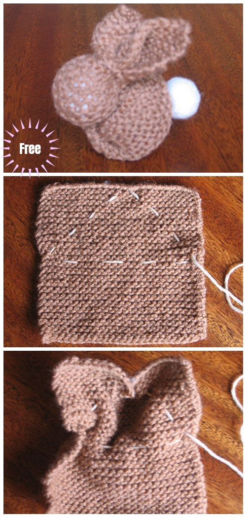 Garter Stitch Knit Square Bunny Free Knitting Pattern Video