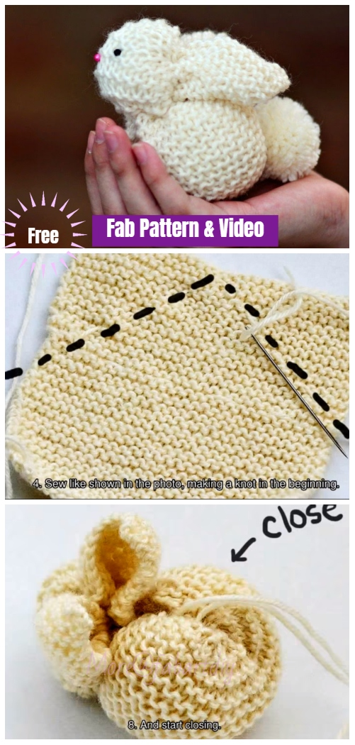 Garter Stitch Knit Square Bunny Free Knitting Pattern Video