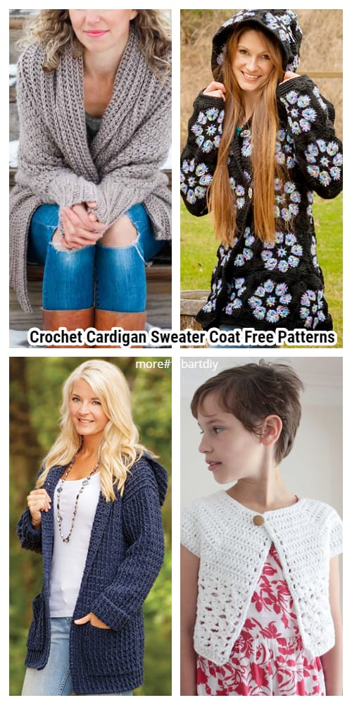 Crochet Cardigan Sweater Coat Free Patterns