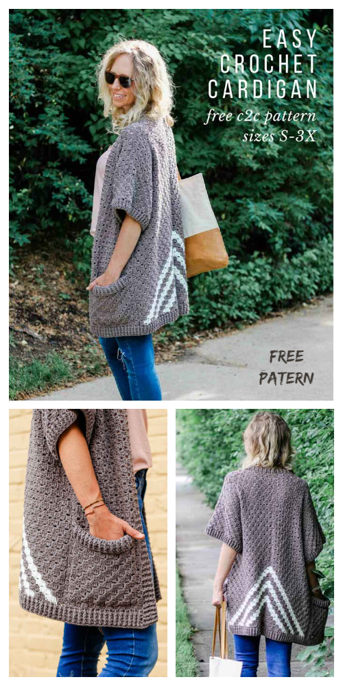 Women Fall C2C Kimono Sweater Cardigan Free Crochet Patterns