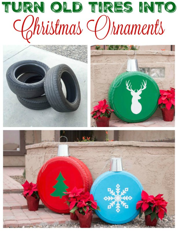DIY Christmas Tire Decoration Ideas-DIY Giant Tire Ornament Christmas Decor Tutorial