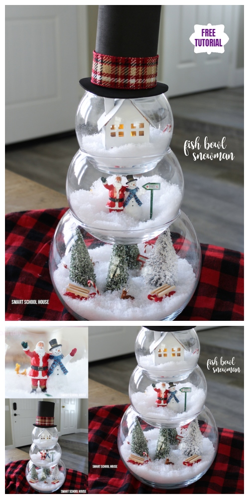 DIY Fish Bowl Snowman Christmas Decoration Tutorial - Video