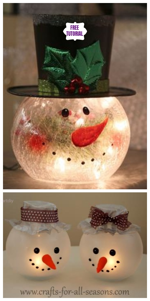 DIY Fish Bowl Snowman Candle Holder Tutorial