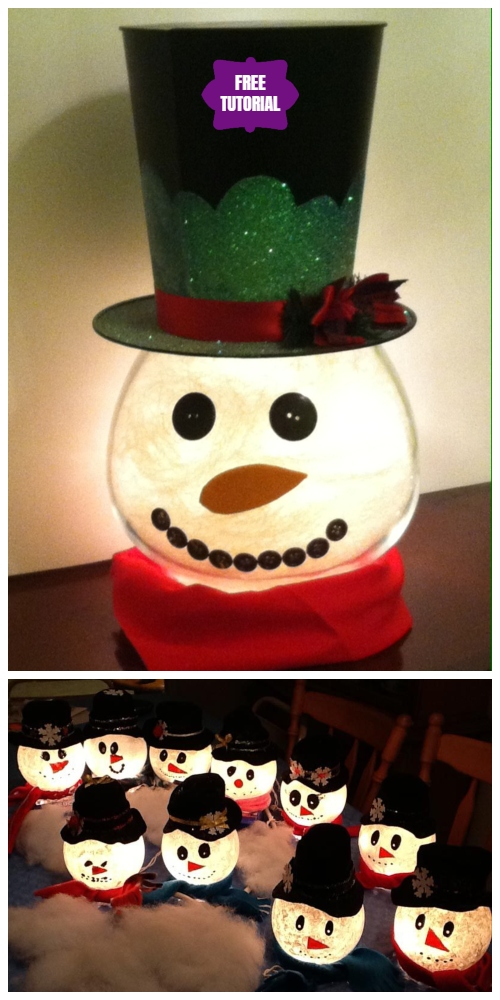 "DIY Lighted ""Goldfish Bowl"" Snowman Tutorial"
