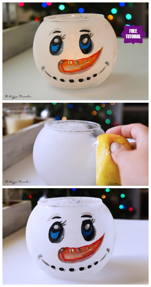 DIY Painted Fish Bowl Snowman Tutorial