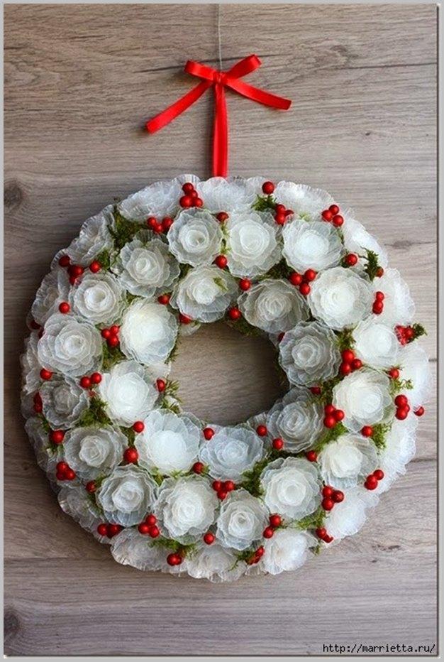 DIY Plastic Egg Tray Rose Flower Christmas Wreath Tutorial-Video