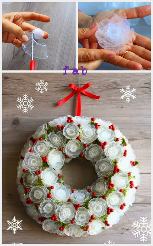 DIY Plastic Egg Tray Rose Flower Christmas Wreath Tutorial-Video