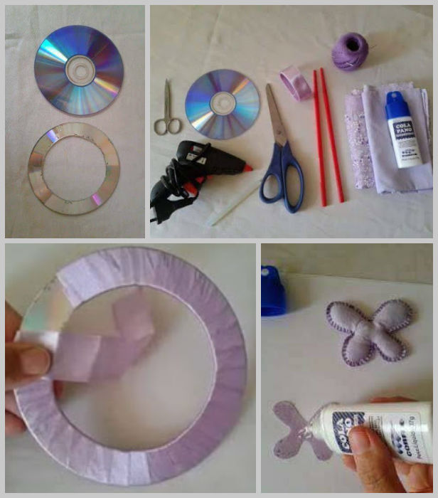 DIY Recycled CD Curtain Knot with Flower Tutorial