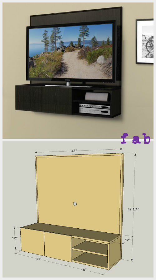 DIY Wall-Mounted Media Cabinet Free Plan