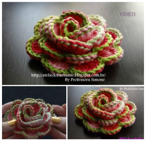 Crochet 3D Rose Flower In Bloom Free Pattern+Video