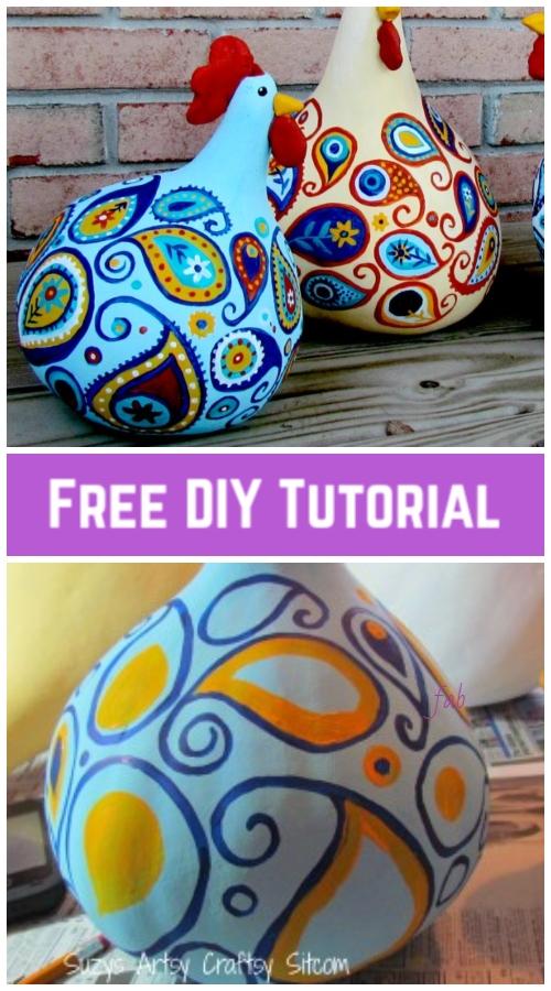 DIY Paint Paisley Gourd Chicken Art Tutorial