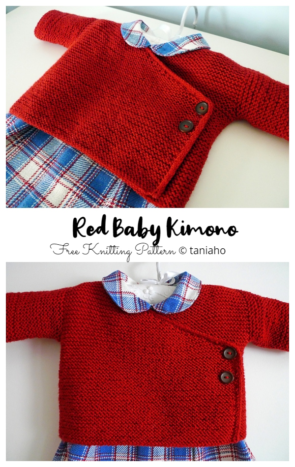 Easy Knit Garter Stitch Baby Kimono Free Knitting Pattern