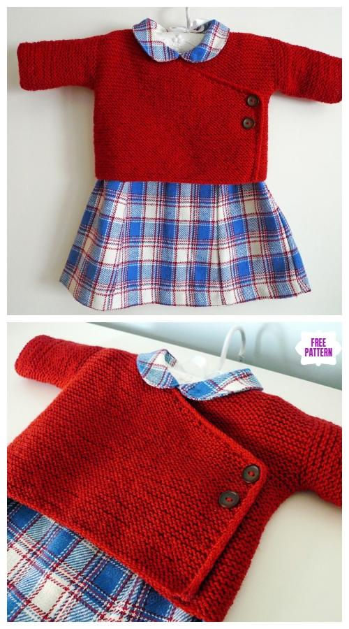 Easy Knit Baby Kimono Cardigan Free Patterns - Garter Stitch Baby Kimono Free Knitting Pattern