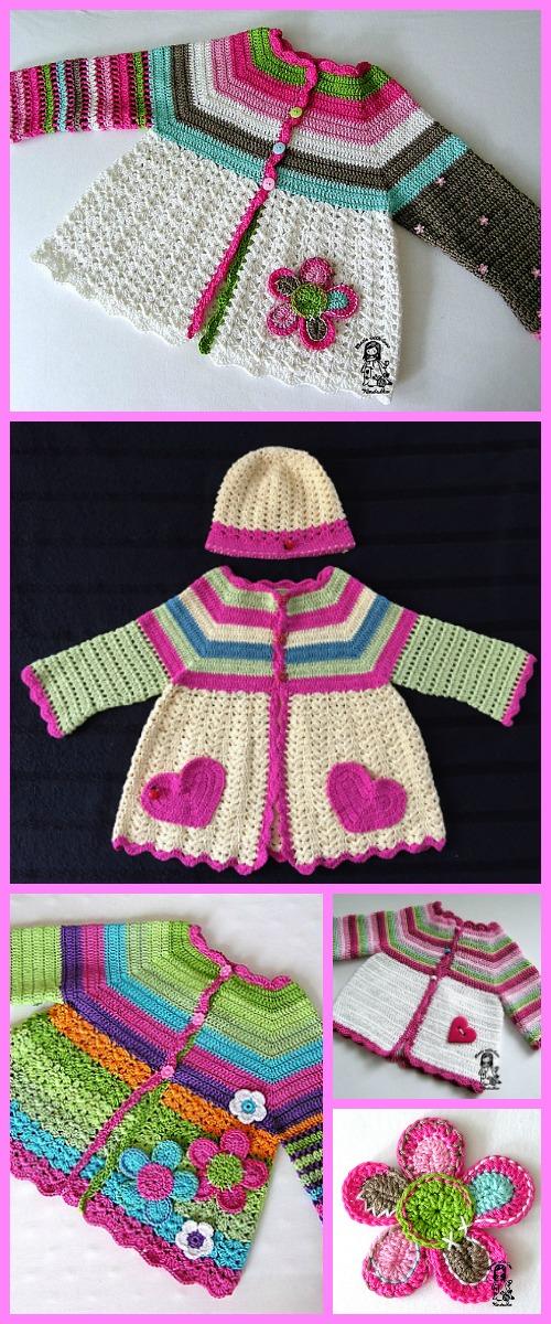 Crochet Girls Flower Cardigan Free Patterns Diy Magazine