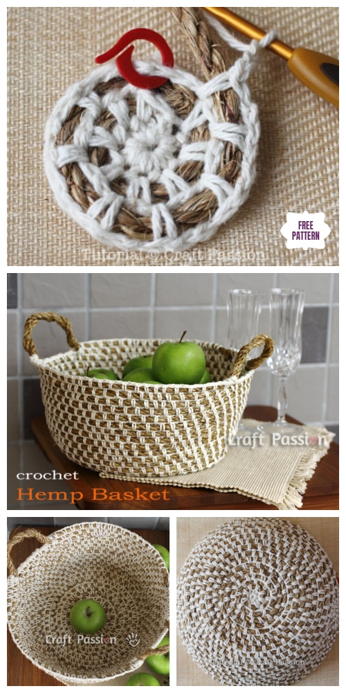 Crochet Hemp Rope Basket Free Crochet Patterns