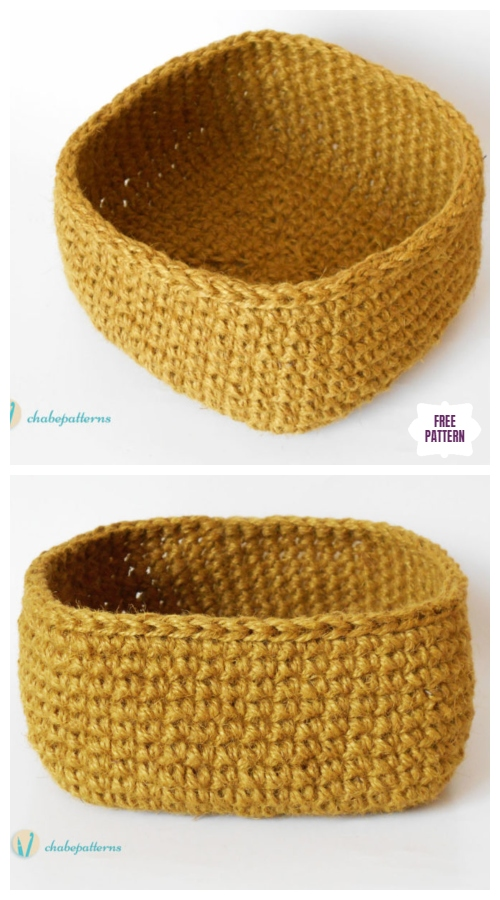 Crochet Hemp Basket Free Crochet Pattern