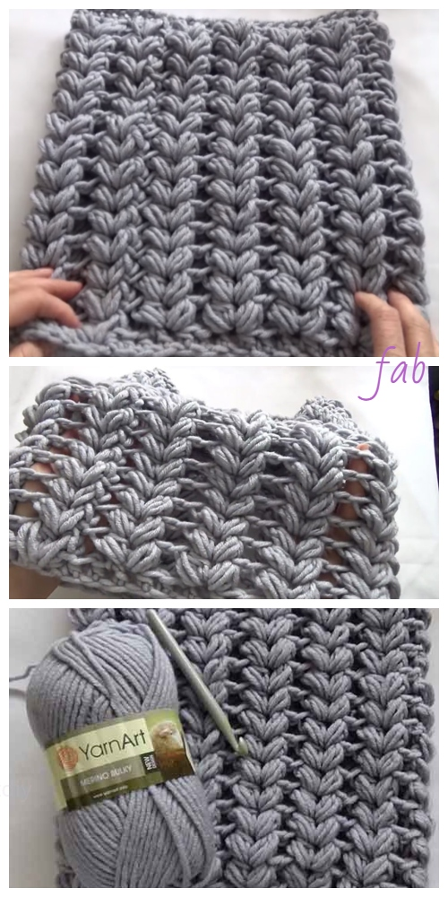 Crochet V Puff Stitch Cowl Scarf Free Crochet Patterns - Video