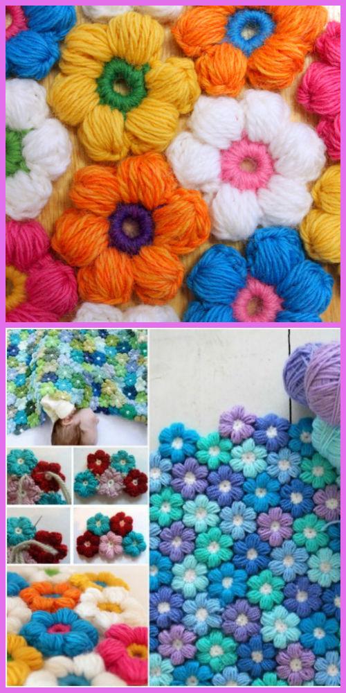 Crochet Puff Flower Baby Blanket Free Pattern