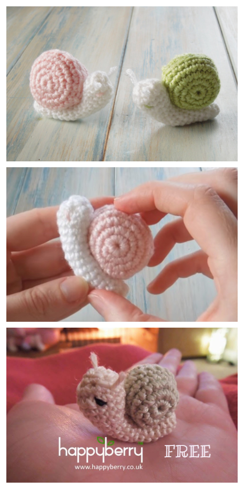 Amigurumi Tiny Snail Free Crochet Patterns + Video
