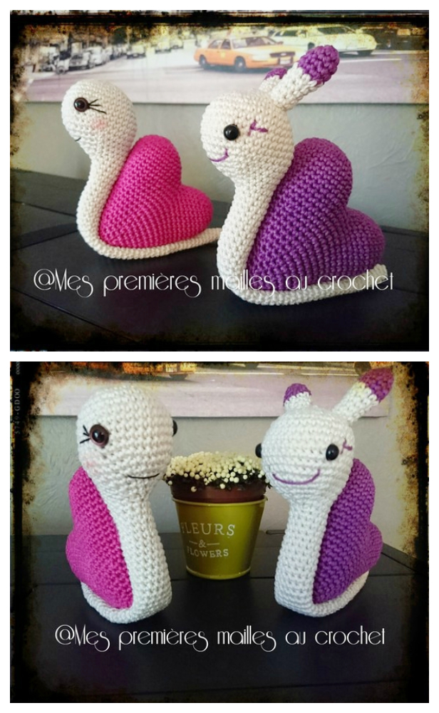 Amigurumi Heart Snail Free Crochet Patterns and Paid