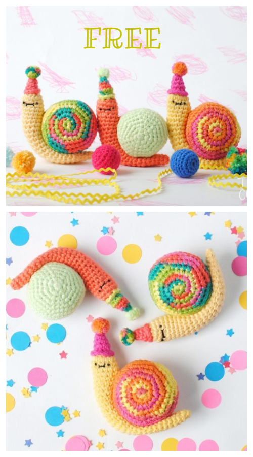 Amigurumi Party Snail Free Crochet Patterns