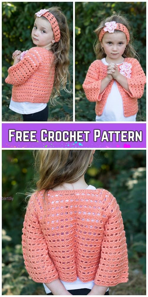 Crochet Flower Friendly Sweater Cardigan & Headband Free Crochet Pattern
