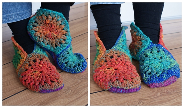 Crochet African Flower Hexagon Slippers Free Patterns-Video