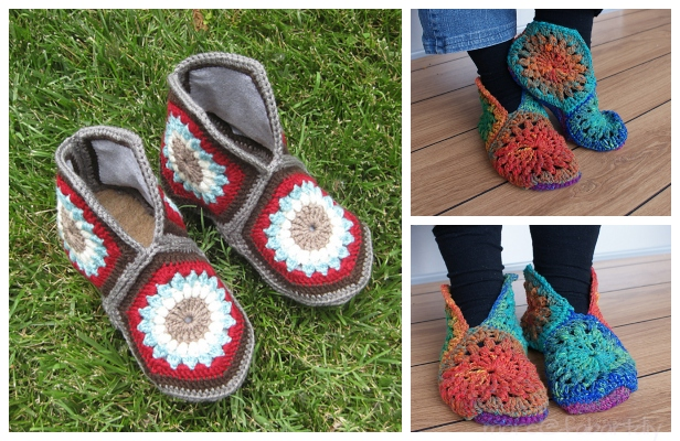 Crochet Granny Hexagon Slippers Free Patterns + Video
