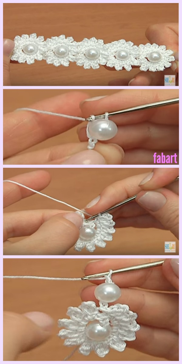 Crochet Mini Bead Flower String Tutorial-Video