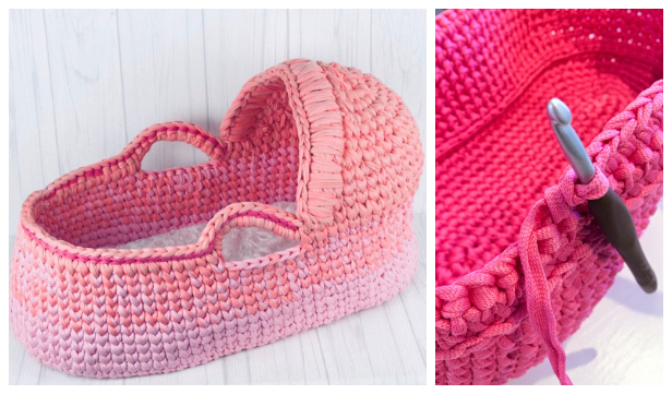 Crochet Cradle Basket Baby Carrier Free Crochet Pattern – Video