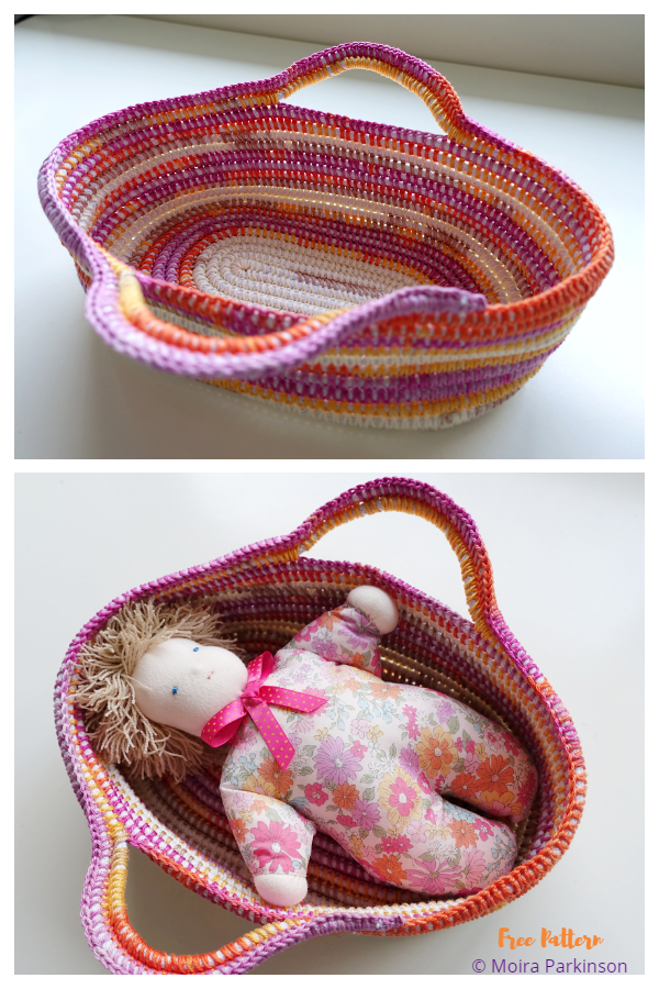 Cotton and Rope Doll's Basket Free Crochet Pattern