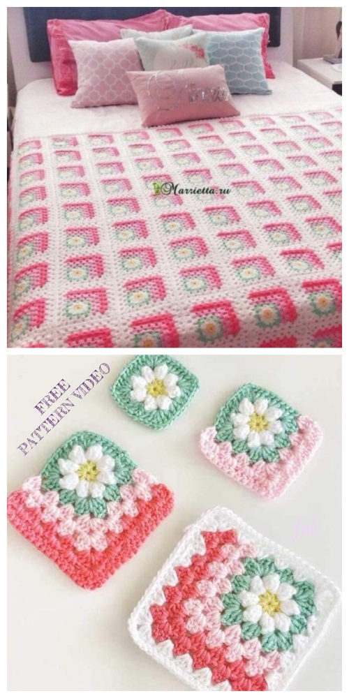 Crochet Mitered Daisy Flower Blanket Free Crochet Pattern + Video