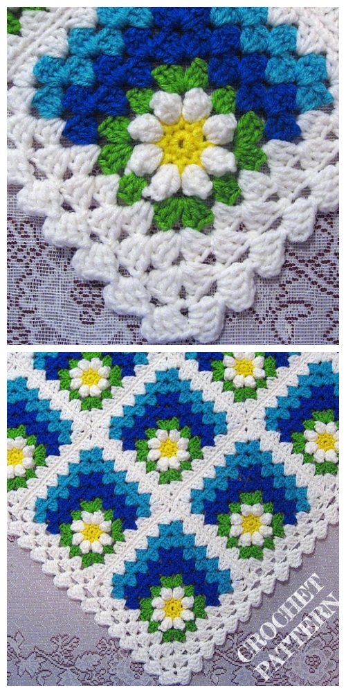 Crochet Mitered Daisy Flower Blanket Crochet Pattern + Video