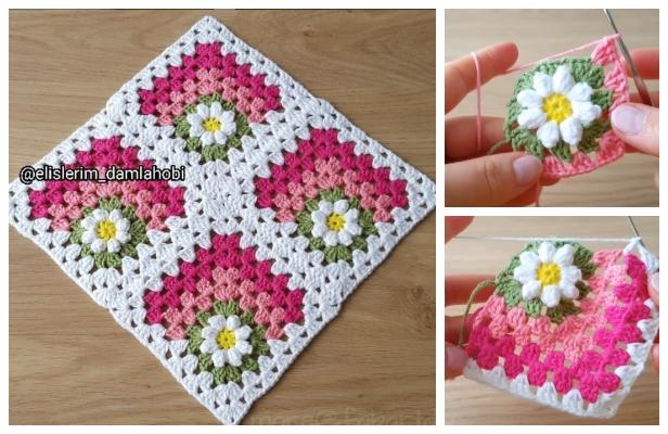 fabartdiy Crochet Mitered Daisy Flower Blanket Free Pattern ft