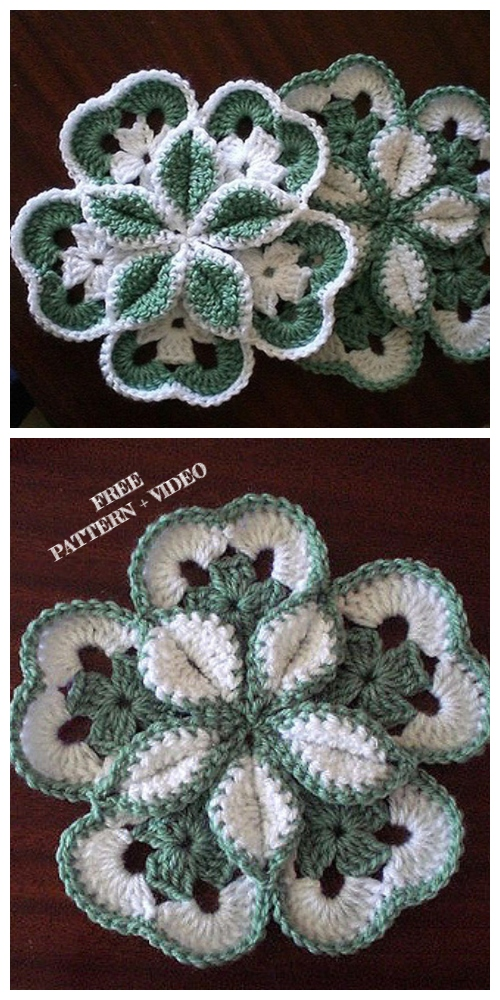 Crochet Starburst Flower Hotpad Free Crochet Pattern + Video