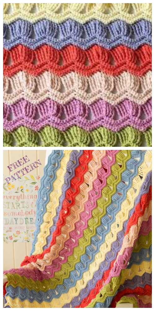 Crochet Vintage Fan Ripple Stitch Blanket Free Crochet Pattern + Video