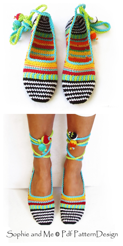 Happy Scrap Adult Slippers Espadrilles Shoes Crochet Pattern