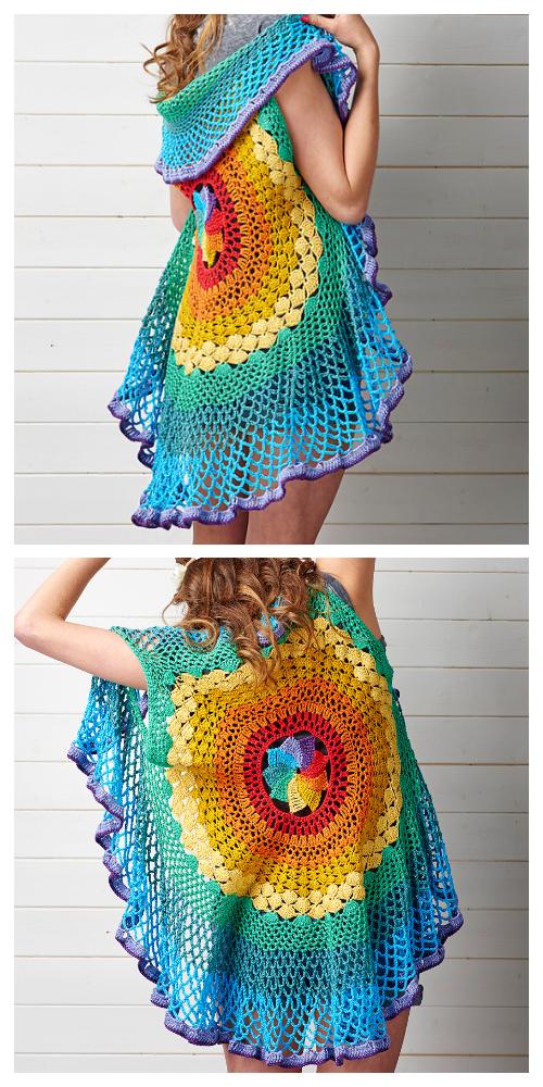 Rainbow Mandala Waistcoat Vest Crochet Pattern