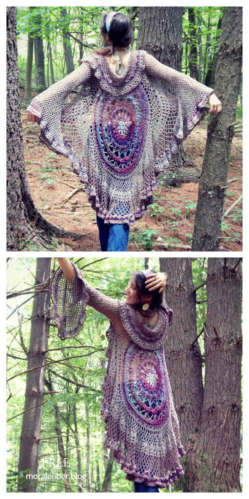Lotus Mandala Duster Circle Vest Free Crochet Pattern