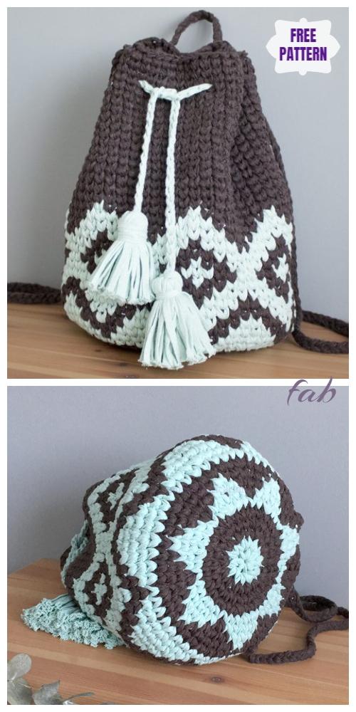 Crochet Mochila Boho Backpack Free Crochet Pattern - Video